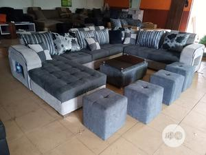 U-Shape Sofa Chairs With Table and Stools - Fabric Couch | Furniture for sale in Lagos State, Ibeju
