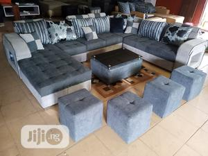 U-Shape Sofa Chairs With Table and Stools - Fabric Couch | Furniture for sale in Lagos State, Ifako-Ijaiye