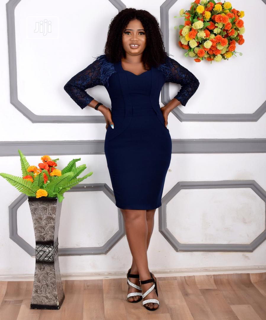 New Qaulity Female Ladies Turkey Fitted Short Blue Gown | Clothing for sale in Lagos Island (Eko), Lagos State, Nigeria