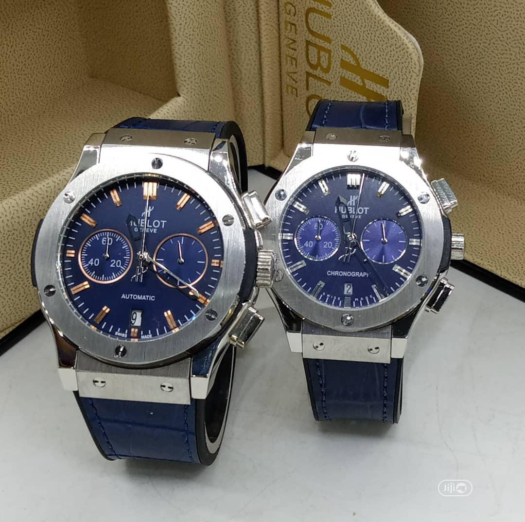 Hublot Chronograph Silver Leather Strap Watch for Couple's