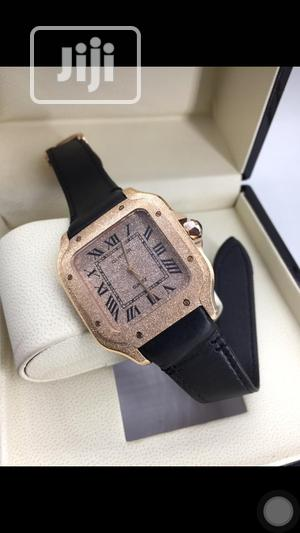 Gold Plated Cartier Leather Wristwatch   Watches for sale in Lagos State, Oshodi