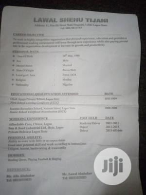Driver CV   Driver CVs for sale in Borno State, Bama