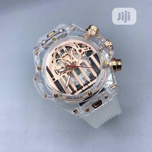 Hublot Chronograph Transparent White Rubber Strap Watch | Watches for sale in Lagos State, Lagos Island (Eko)