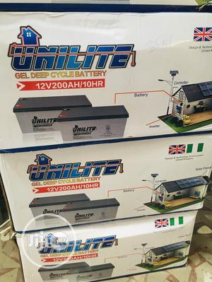 200ah 12v Unilite Battery Available With 1yr Warranty | Solar Energy for sale in Lagos State, Ikeja