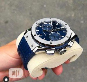 Hublot Chronograph Silver Blue Leather Strap Watch | Watches for sale in Lagos State, Lagos Island (Eko)