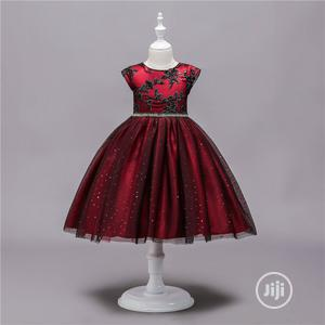 Red Dorissa Dress With Black Sequence | Children's Clothing for sale in Lagos State, Surulere