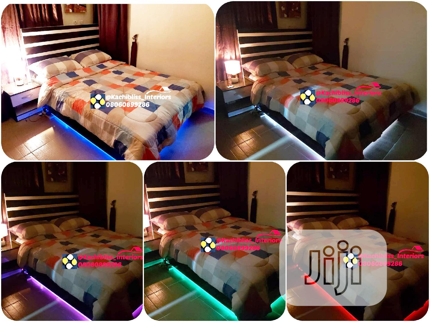 41/2*6ft Modern Bedframe With Led Light | Furniture for sale in Isolo, Lagos State, Nigeria