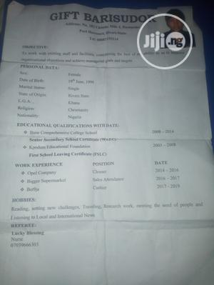 Retail CV | Retail CVs for sale in Rivers State, Khana