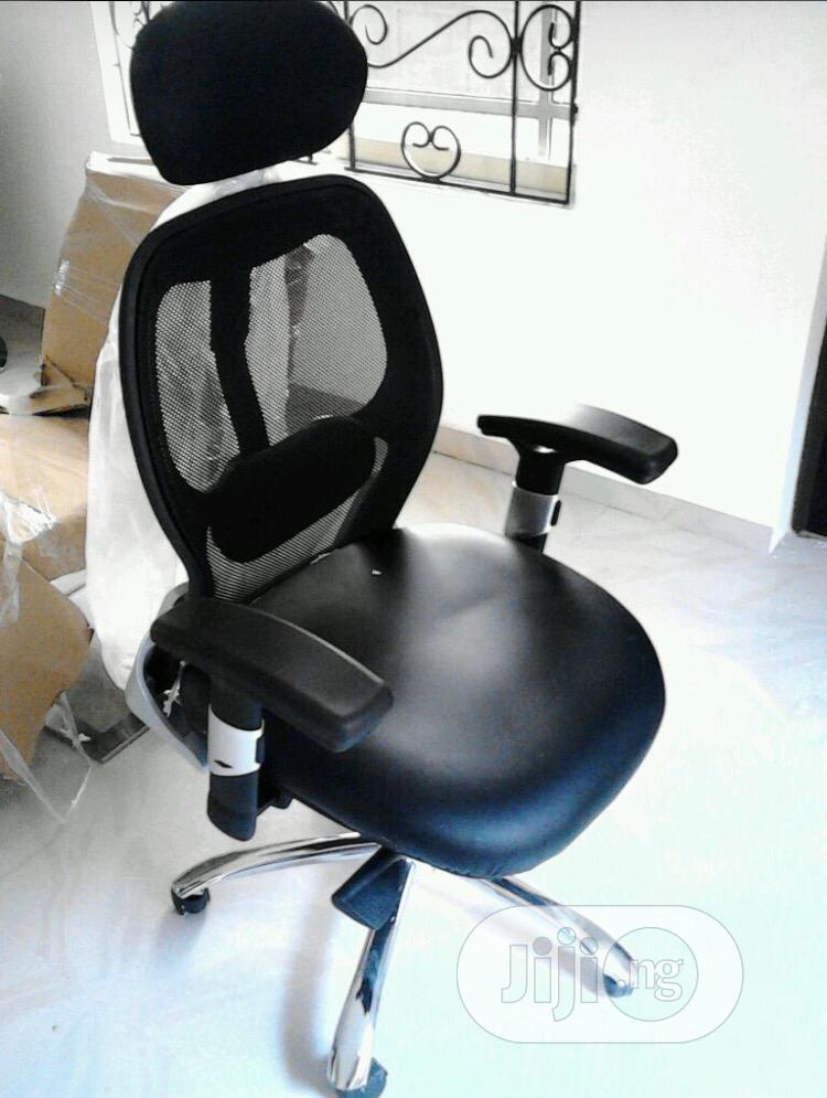 Mesh and Leather Ergonomic Swivel Office Chair