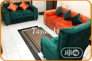 Green And Orange Fabric Sofa For Sale | Furniture for sale in Lagos State, Ikeja