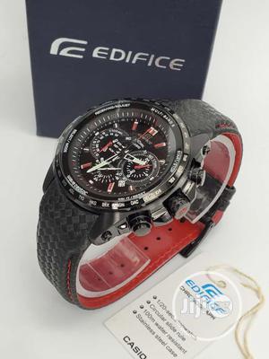 Edifice Casio Chronograph Black Leather Strap Watch | Watches for sale in Lagos State, Lagos Island (Eko)