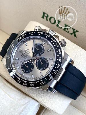 Rolex (DAYTONA) Chronograph Silver/Black Rubber Strap Watch | Watches for sale in Lagos State, Lagos Island (Eko)