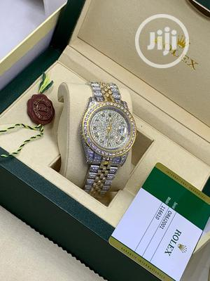 Rolex Oyster Perpetual Full Ice Gold/Silver Chain Watch | Watches for sale in Lagos State, Lagos Island (Eko)