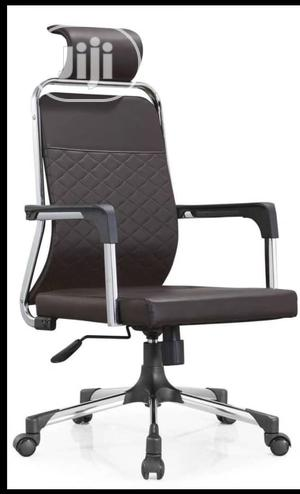 Brown Leather Swivel Office Chair With Headrest   Furniture for sale in Lagos State, Amuwo-Odofin