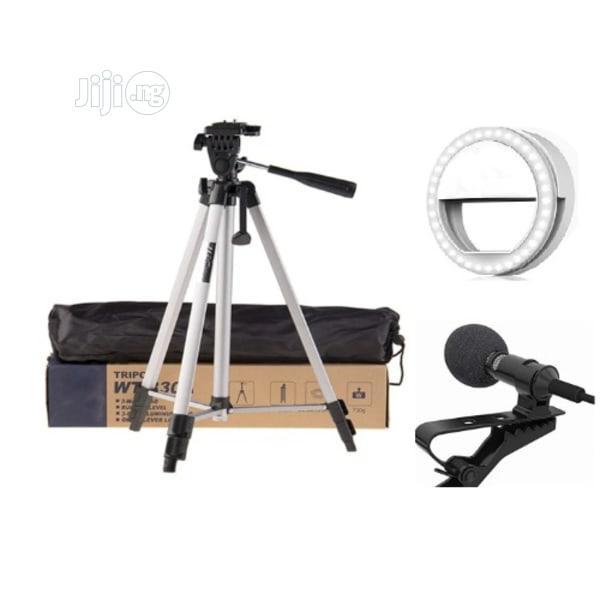 Tripod Stand + Phone Selfie Ring Light + 3.5mm Lapel Mic