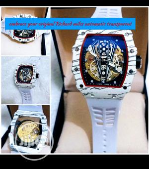 Richard Mille Men's Rubber Band White Wristwatch   Watches for sale in Lagos State, Surulere