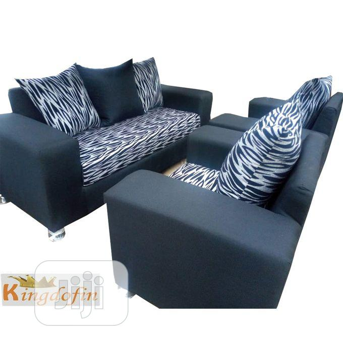 Archive: Set of Black Fabric Sofa Chair Seven Seaters