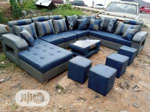 U-shape Sofa Chairs With Table And Stools. Leather Couches | Furniture for sale in Lagos State, Ikeja