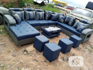 U-shape Sofa Chairs With Table, Stools. Leather Couch | Furniture for sale in Lagos State, Ojo