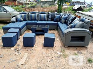 U-shape Sofa Chairs With Table, Stools. Leather Couches | Furniture for sale in Lagos State, Surulere