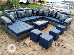 U-shape Sofa Chairs With Table Plus 4stools. Leather Couches | Furniture for sale in Lagos State, Ejigbo
