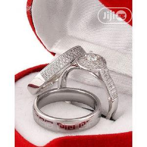 White Sapphire and Stone Silver Wedding Ring Set | Wedding Wear & Accessories for sale in Lagos State, Apapa