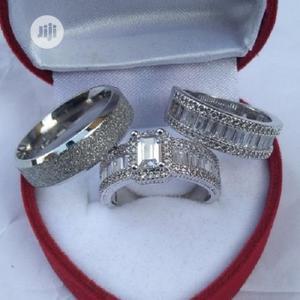 Diamond Stone Silver Wedding Ring Set | Wedding Wear & Accessories for sale in Lagos State, Apapa