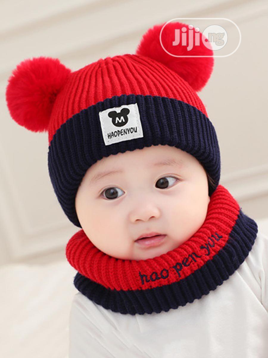 2pcs Cute Pom Pom Beanie Baby Cap Neck Warmer