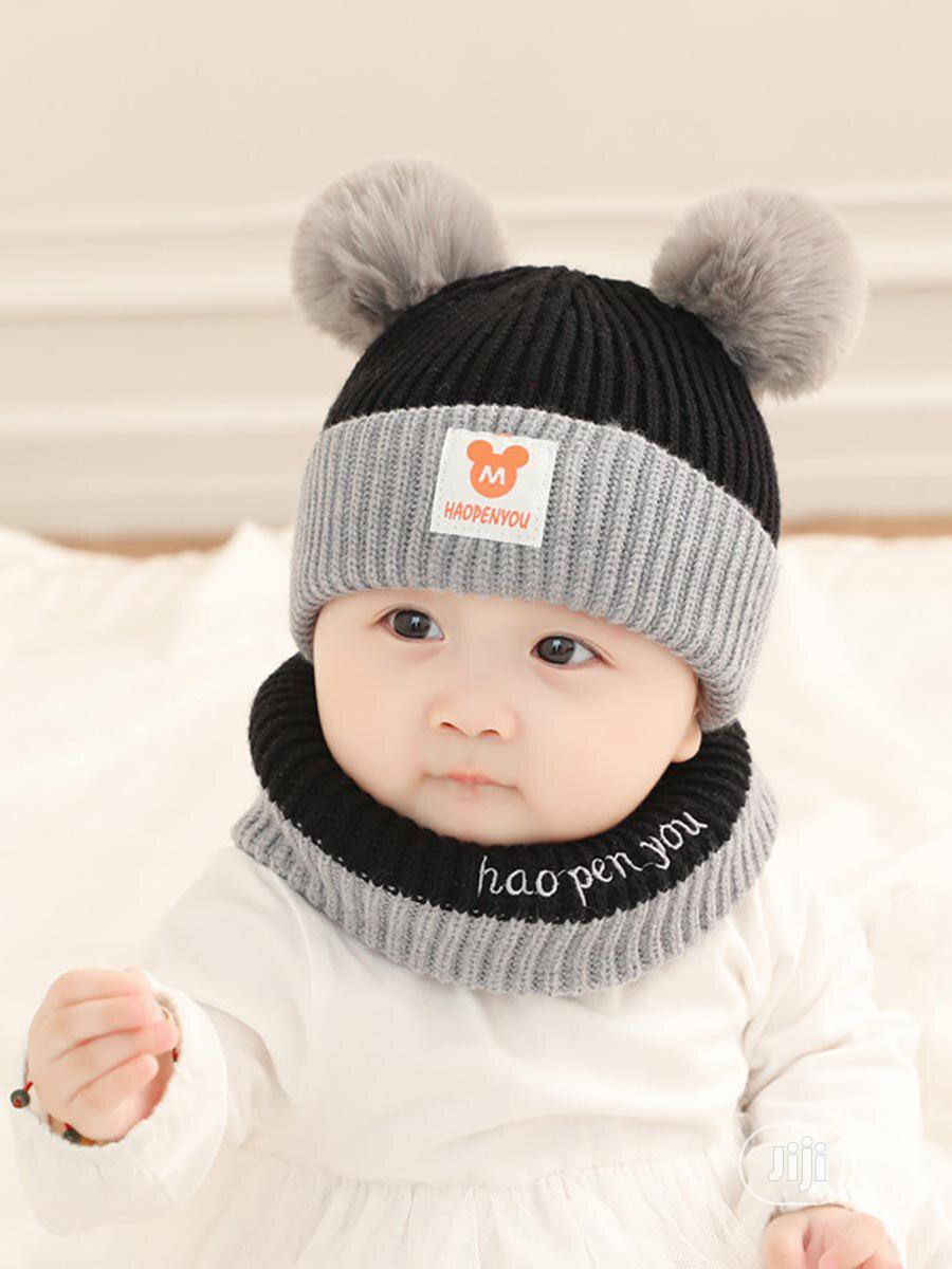 2pcs Cute Pom Pom Beanie Baby Cap Neck Warmer | Children's Clothing for sale in Alimosho, Lagos State, Nigeria
