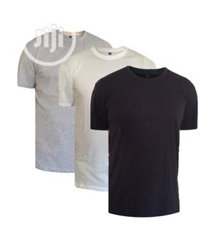 Pack of 3 Plain Round Neck Cotton T-Shirt - Black White Gray | Clothing for sale in Lagos State, Oshodi