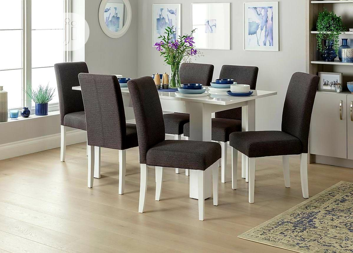 Archive: Ava White High Gloss Dining Table and Six Grey Chairs