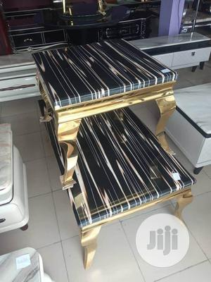 Set Of Marble Centre Table Gold By 2 Sides Stools | Furniture for sale in Lagos State, Ojo