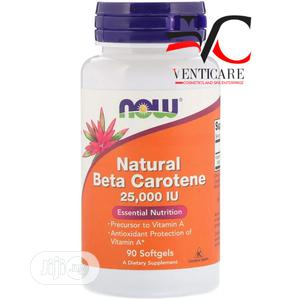 Now Foods Natural Beta Carotene 25,000 IU 90 Softgels | Vitamins & Supplements for sale in Lagos State, Ojo