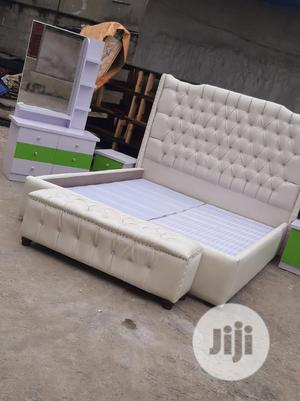 6/6 Padded Leather Bed Frame Wit Foot Stool   Furniture for sale in Lagos State, Ojo