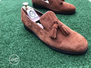 Golden Brown Suede Loafers With Tassel | Shoes for sale in Lagos State, Mushin