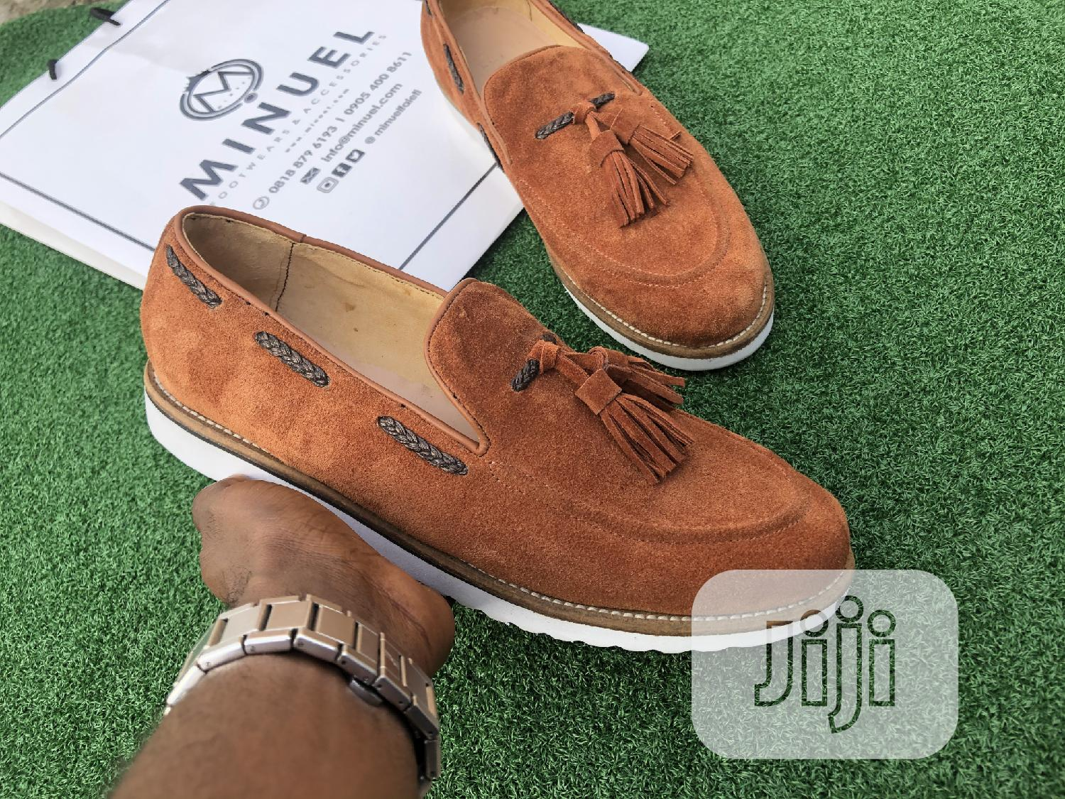 Golden Brown Suede Loafers With Tassel