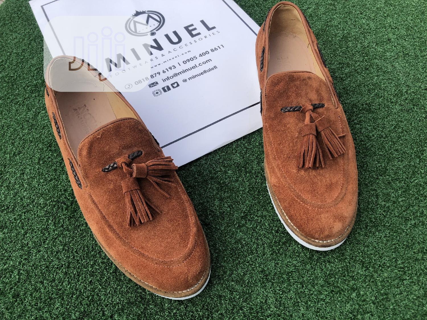 Golden Brown Suede Loafers With Tassel   Shoes for sale in Mushin, Lagos State, Nigeria