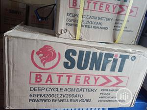 SUNFIT. 200ah Deep Cycle Battery 12volt's   Solar Energy for sale in Adamawa State, Jada