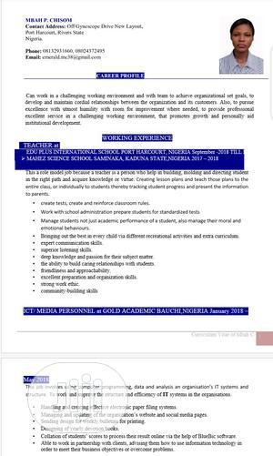 Teaching CV | Teaching CVs for sale in Rivers State, Obio-Akpor