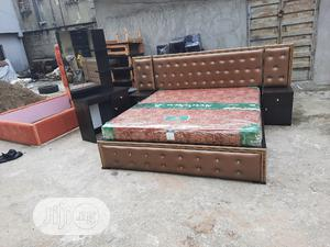6 by 6 . Padded Bedframe With Orthopaedic Spring Mattress | Furniture for sale in Lagos State, Ojo