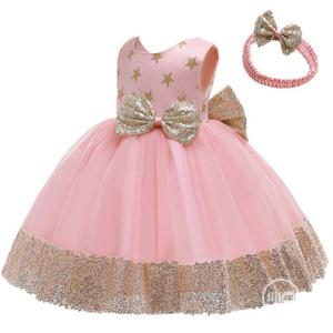 Baby Party Ball Dress With Head Band-pink And Gold | Children's Clothing for sale in Lagos State, Ojota