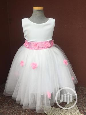 Off White Ball Dress With Baby Pink Flowers And Belt | Children's Clothing for sale in Lagos State, Gbagada