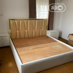 Available Upholstery Bed Frame 6x6 With 2 Bedside Drawer | Furniture for sale in Lagos State, Isolo