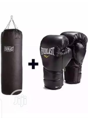 Everlast Punching Bag and Boxing Gloves Black   Sports Equipment for sale in Lagos State, Victoria Island