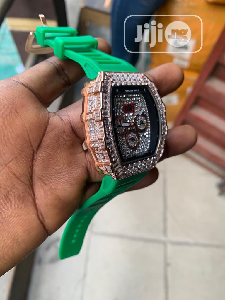 Richard Mille Men's Green Rubber Wristwatch