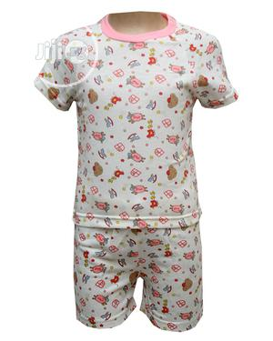 Baby Unisex Two Pcs of Top and Pants -Cream and Multi | Children's Clothing for sale in Lagos State, Ojota