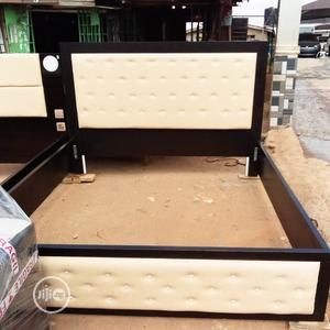 4 1/2 X 6 Leather Board Bed Frame With Side Drawer   Furniture for sale in Lagos State, Ikeja