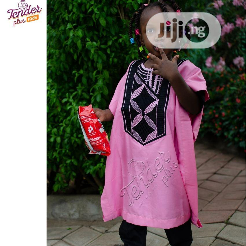 -Girls Baby Pink Agbada With Embroidery