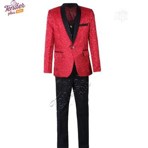 Boys 3 Pcs Red Paisley Tuxedo Suit With White Shirt | Children's Clothing for sale in Lagos State, Ojodu