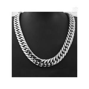 Silver Tone Cuban Curb Link Chain Stainless Steel Necklace   Jewelry for sale in Lagos State, Surulere